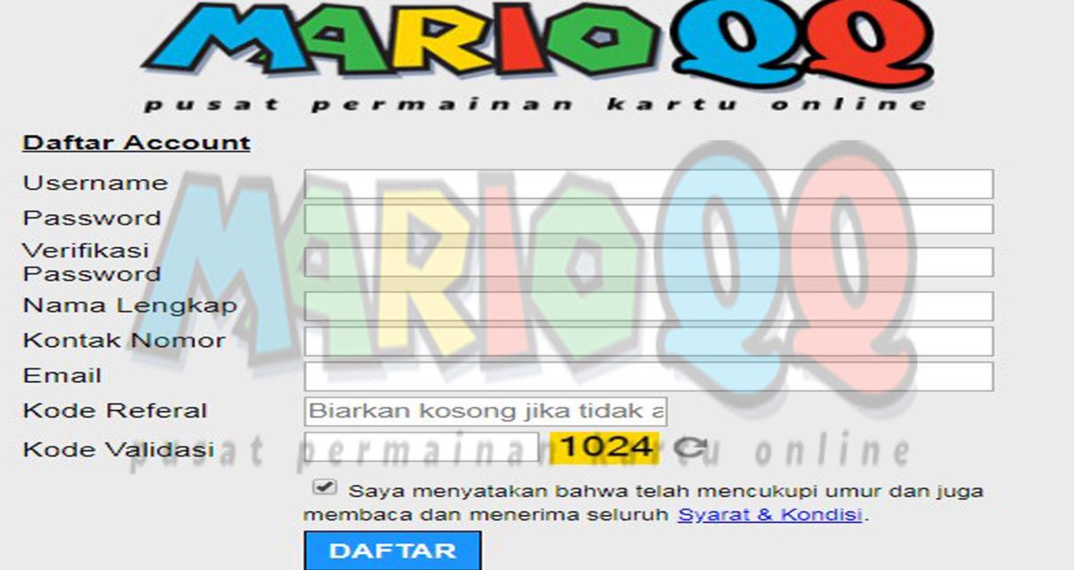 MarioQQ,Cara Daftar Untuk Bermain.