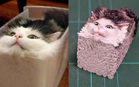 Patung Yang Terinspirasi dari Foto Unik Kucing Oleh Seniman Jepang