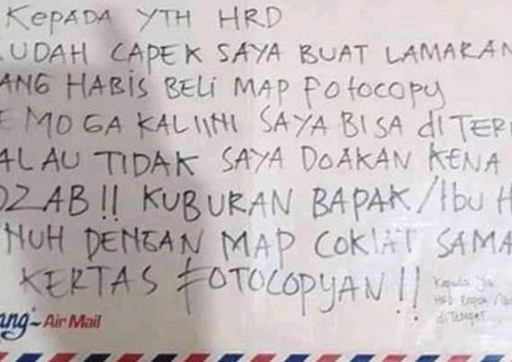 Viral Jika Surat Lamaran Kerja di Tolak, Pelamar Kerjaan Doakan HRD Kena Azab